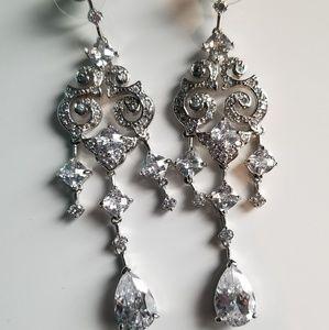 """silver chandelier """"diamond"""" earrings"""